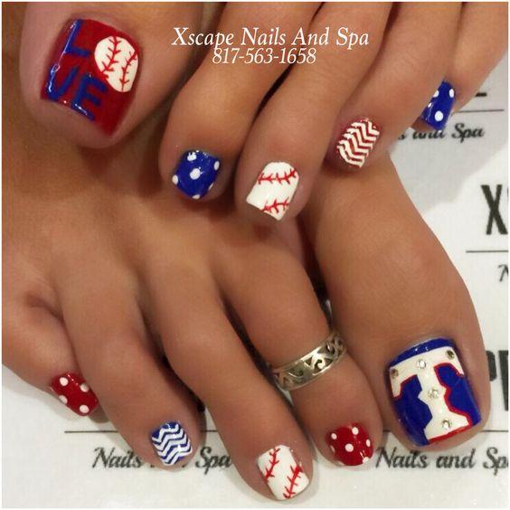 Texas Rangers Toe Nail Art Nailarts Ideas