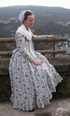 1780s dress, cap and fichu