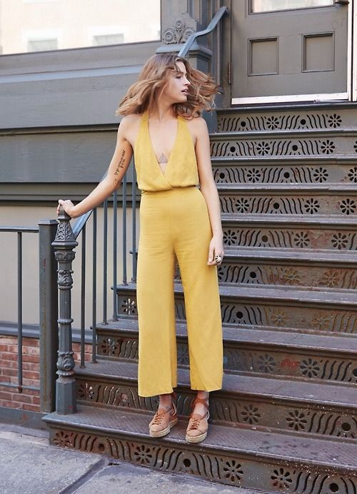 Yellow Jumpsuit style Gingerly Witty