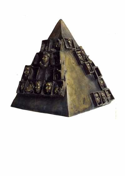 Bronze Stylised Heads/Busts #sculpture by #sculptor Reka Krisztina Csapo Dup titled: 'PYRAMIDE' #art