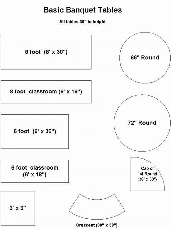 Standard banquet table dimensions | Organization & DIY Tips ...