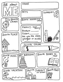 ALL ABOUT ME FREEBIE! - this is great for FIRST week of school - so fun!! Repinned by SOS Inc. Resources pinterest.com/sostherapy/.: