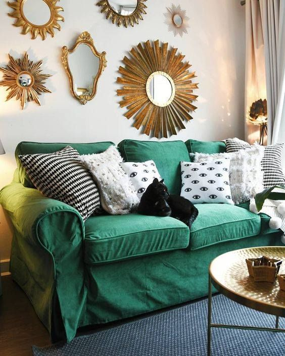 Comfort Works Rouge Emerald Velvet Sofa Slipcovers For Ikea