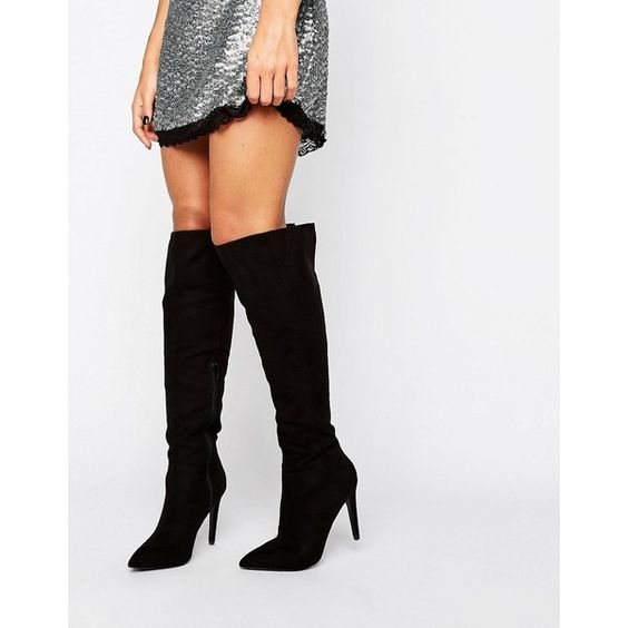 Little Mistress Knee Boot ($68) ❤ liked on Polyvore featuring shoes, boots, black, black pointed toe boots, zipper boots, knee high heel boots, knee length boots and black high heel boots
