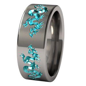 Liung Anodized Titanium Wedding Ring - custom option one dragon teal as shown, one dragon purple?