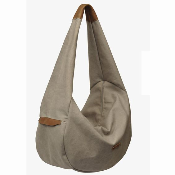 Handmade hobo bag in light grey canvas with leather trims,named Lilou. $89.00, via Etsy.