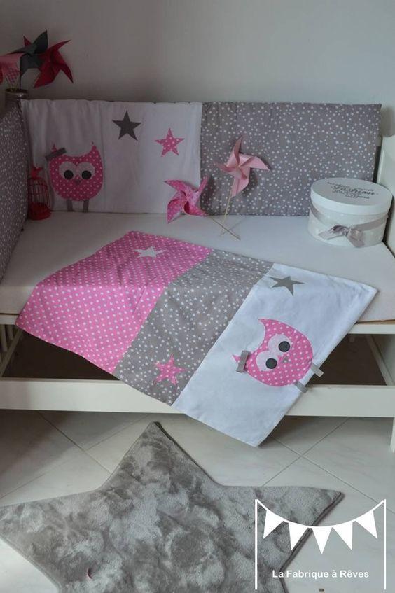 dispo couverture b b polaire toute douce fille hibou chouette rose gris blanc toiles b b. Black Bedroom Furniture Sets. Home Design Ideas