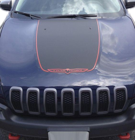 20142017 Jeep Cherokee Trailhawk Black Satin Vinyl Hood Decal