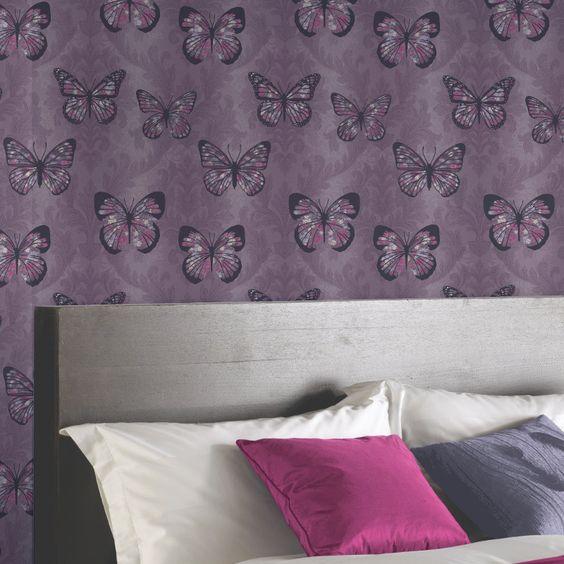 Arthouse Midsummer Butterfly Glitter Wallpaper - Plum - http://godecorating.co.uk/arthouse-midsummer-butterfly-glitter-wallpaper-plum/