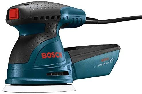 Bosch Ros20vsc Palm Sander 2 5 Amp 5 In Corded Variable Speed Random Orbital Sander Polisher Kit With Dust Collector And Soft Carr