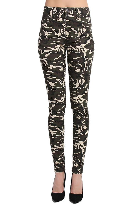 TheMogan Army Camo High Rise Ankle Skinny Jeans