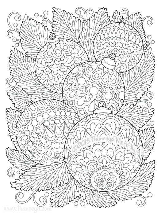 Christmas Ornaments Coloring Page From Thaneeya Mcardle S Holiday Cheer Colori Christmas Ornament Coloring Page Christmas Coloring Books Mandala Coloring Pages