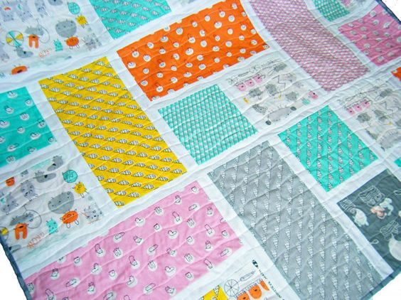 Baby Quilt - Toddler Blanket, Patchwork Throw - Organic Fabric - Monsterz by Cloud9. £70.00, via Etsy.