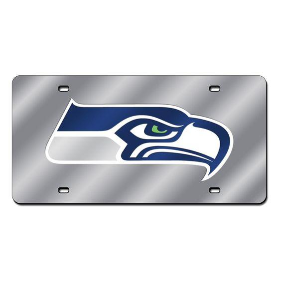 Seattle Seahawks Glitter License Plate Frame - Black