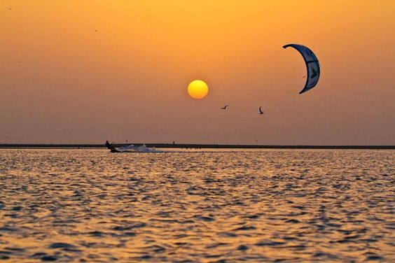 Sunset & birds, perfect moment in Masirah Island.  view on our FB page https://www.facebook.com/OmanPocketGuide  credit: Charlotte Consorti, pro-kitesurfer