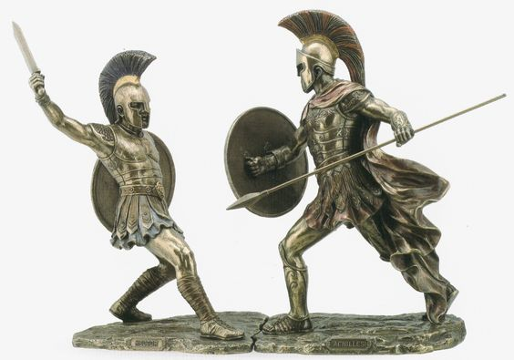 Amazon.com - Achilles & Hector Unleashed Battle of Troy Statue Sculpture Figurine - Collectible Figurines
