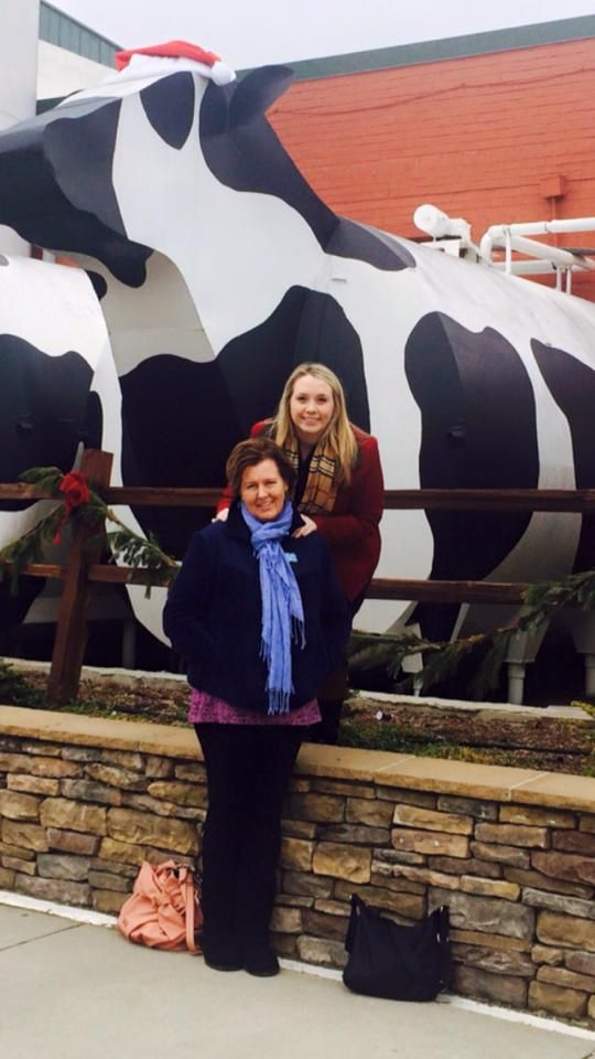 Me and my daughter outside of cheese factory. Should I really be wearing leggings at my age? I do love them!