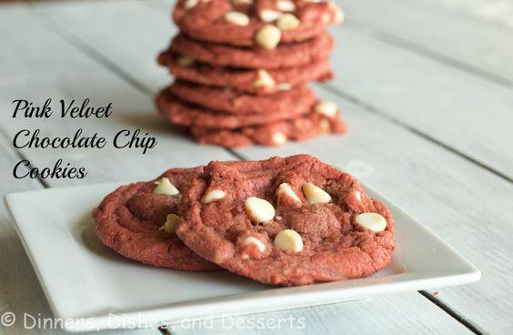 Pink Velvet Cookies from @Dinnersdishesdessert