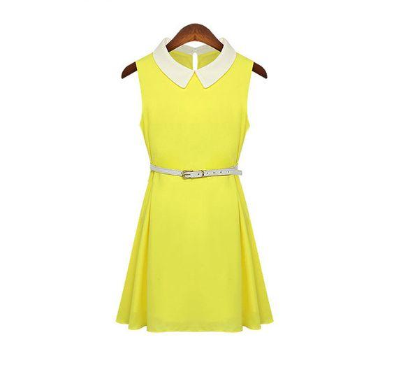 Womens Turn-collar Bright Color Sleeveless Chiffon Popular Dress - Dresses Read More: http://fashionant.com/women-s-turn-collar-bright-color-sleeveless-chiffon-popular-dress.html  If you like this picture - follow my pinterest @MuteFashion or visit my official blog: http://mutefashion.com/
