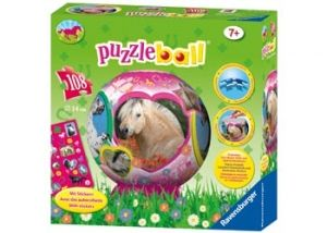Puzzle Ball- I Love Horses.  This fantastic 3D puzzle is a great way to promote concentration, spatial awareness and fine motor skills in young children. Designed for children Ages 7+, this puzzle provides a challenging activity for them to grow with. It has a beautiful horse design and also comes with some lovely horse stickers which any child horse mad or not will love.  108 Piece Puzzle.  http://flyingfetlocks.com.au/products/I_Love_Horses_Puzzle_Ball_Age_7-87-46.html