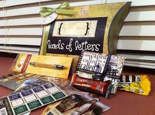 """""""LOADS OF LETTERS"""" A kit with all the letter writing """"equipment"""" every missionary needs - a nice pen, pictures of Christ, church stickers, and a journal are some of the things included in this package."""
