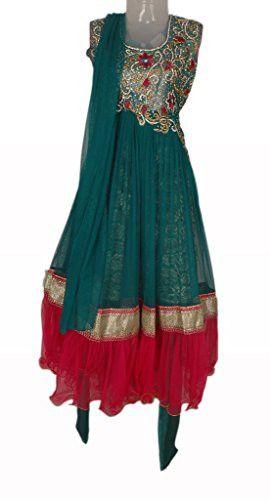 Rama Green and Red Colour Girls Party Wear Punjabi Suit, Vasundhara Fashions Indian Clothing