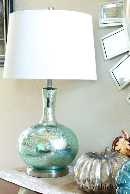 Bedside lamps with drum shades use looking glass spray for Glass bedside lamp shades