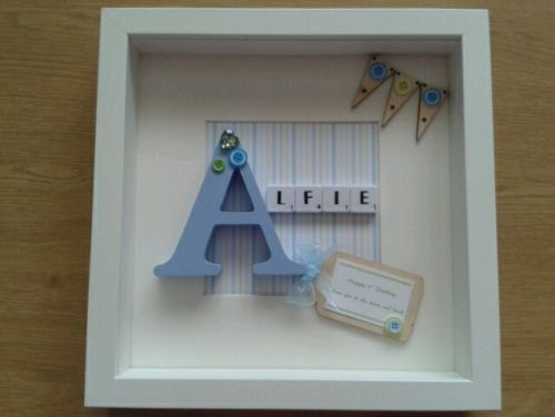 Personalised Scrabble Art  Baby boy/girl, Baby Shower, gift, Birthday, Christening, New baby, name, Initial, Box frame, Picture, Keepsake