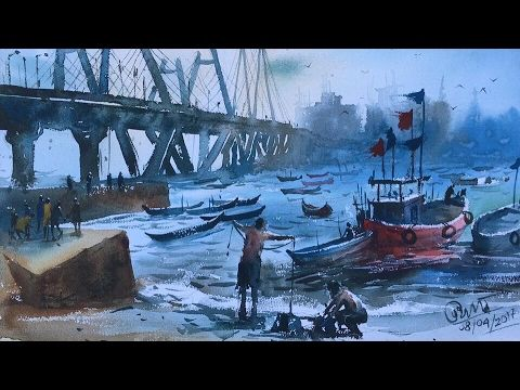Watercolor Painting Of Bandra Worli Sea Link Painting Tips And