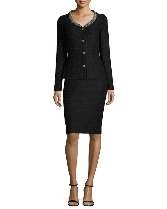 Shimmer Lattice-Knit Jacket & Pencil Skirt