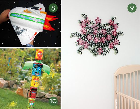 Roundup 10 diy kids craft projects using recycled for Art craft using waste materials