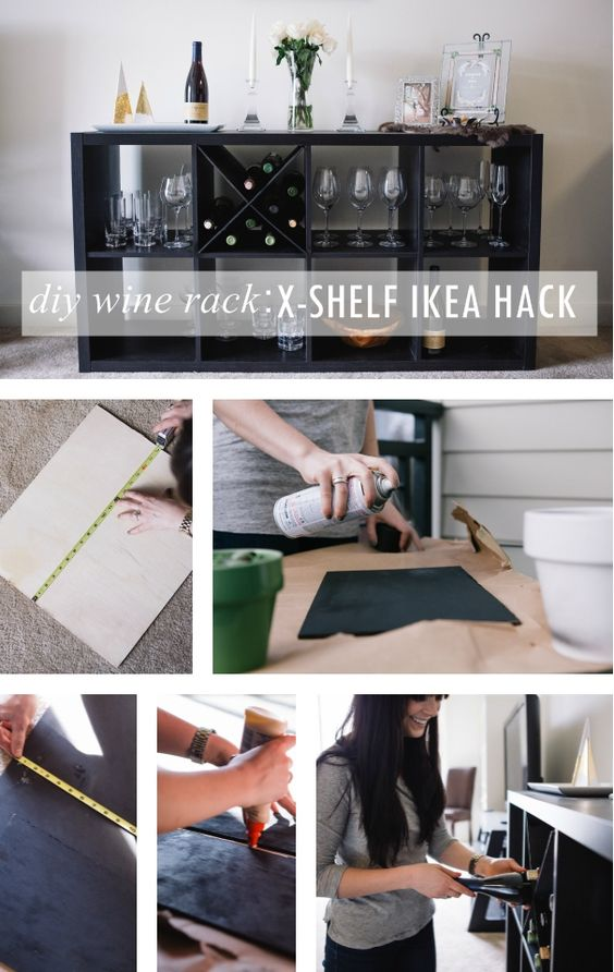 Diy wine rack an x shelf ikea hack ikea hacks hacks for Wine shelves ikea