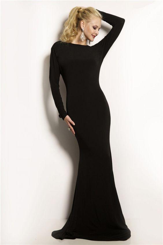 Tight Mermaid Backless Long Sleeve Black Jersey Evening Prom Dress ...