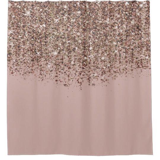 Taupe Blush Pink Rose Gold Bronze Glitter Glam Shower Curtain