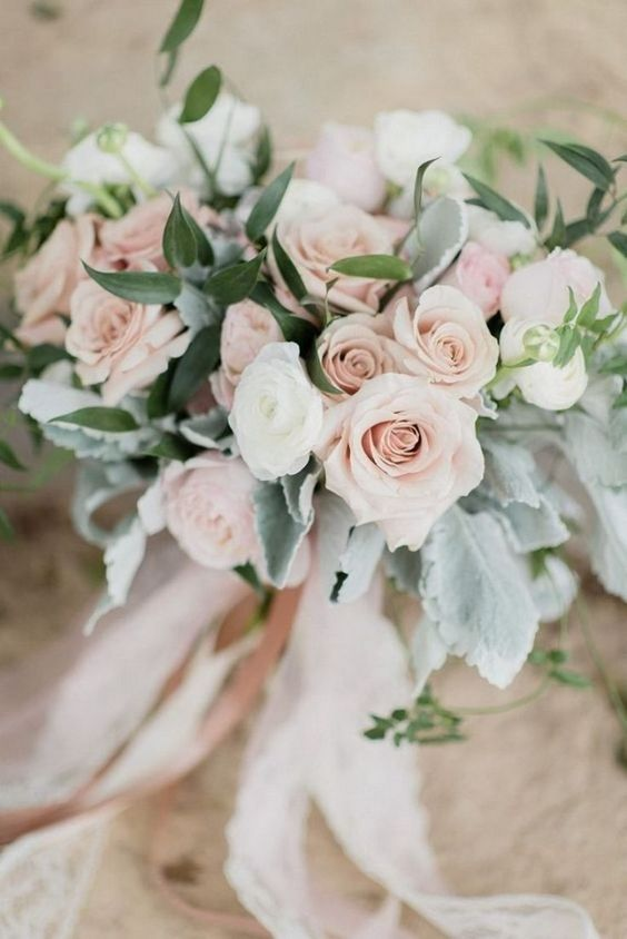 blush pink roses wedding bouquet for spring