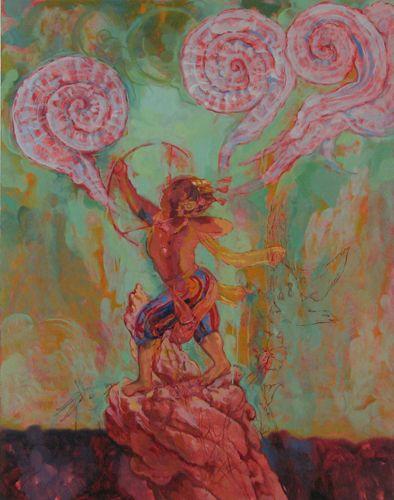 Conley Harris, Bright Crimson Skies, 2006 oil on canvas, 56 x 56 inches