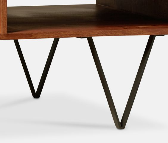 Coffee table, Mid-century style in rosewood and iron, v-shaped legs