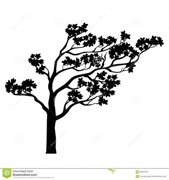 Silueta De Sakura Del árbol Ilustración Del Vector Ilustración del Vector - Imagen: 68604737