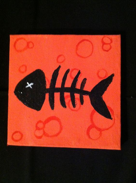 Small Fishbone - Acrylic/Watercolor by Lauren Tornetta