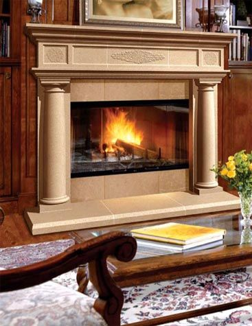 The sienna half fireplace by continental cast stone mfg for Fireplace half stone