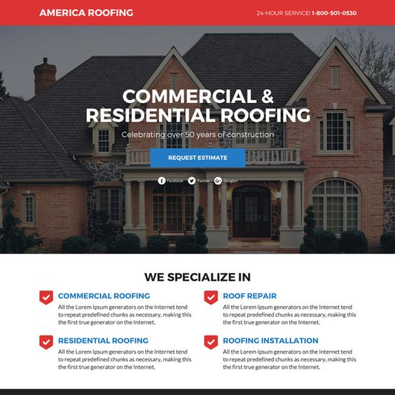 Commercial And Residential Roofing Services Funnel Landing Page Design Roof Roofing Restoration Roofingservice Resid Residential Roofing Commercial Roofing