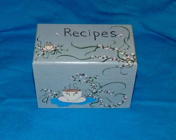 Coffee Recipe Box Wood Recipe Card Box Coffee by EssenceOfTheSouth, $42.50