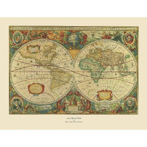 Old World Map Painting Artwork - Extra Large