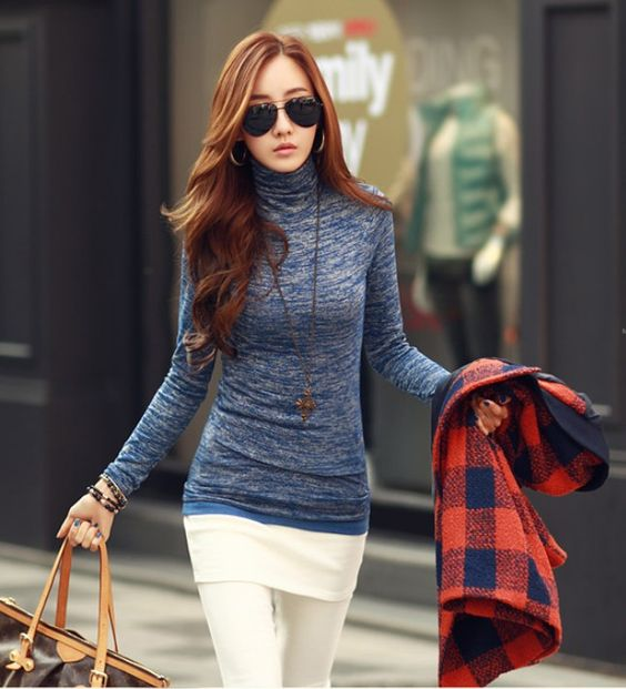 Find More T-Shirts Information about S XXL New Korean winter spring thickening casual wild female high necked long sleeve t shirt women tops clothing 125 ,High Quality dress shirts long sleeve,China dress camisole Suppliers, Cheap t-shirt wifi from I am what I am. on Aliexpress.com