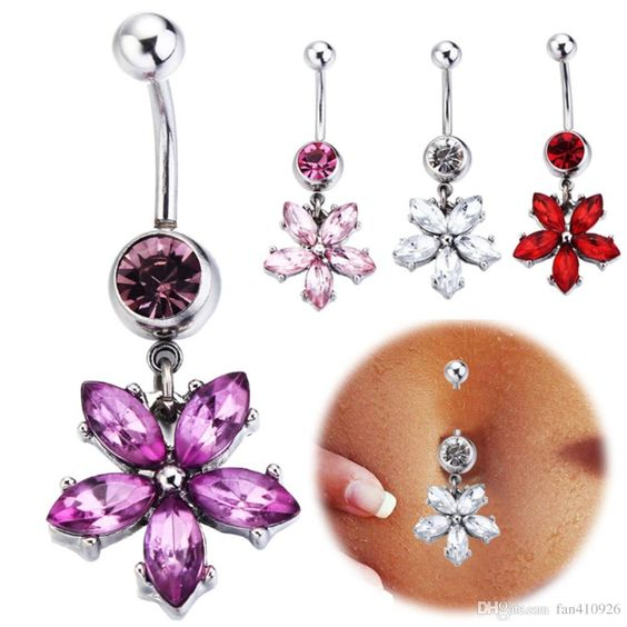 Online Cheap Kawaii Rose Flower Belly Button Rings Body Piercing 316l Surgical…