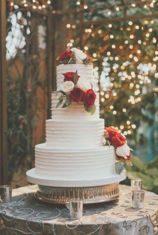 4 Tier Wedding Cake Red And White Rose Accent Classic Wedding Cakes Pixel Perfect Visuals Wedding Cake Red Red Wedding Decorations Wedding Cake Roses