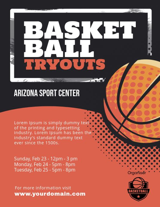 Basketball Tryouts Poster Flyer Template Basketball Tryouts Basketball Posters Basketball