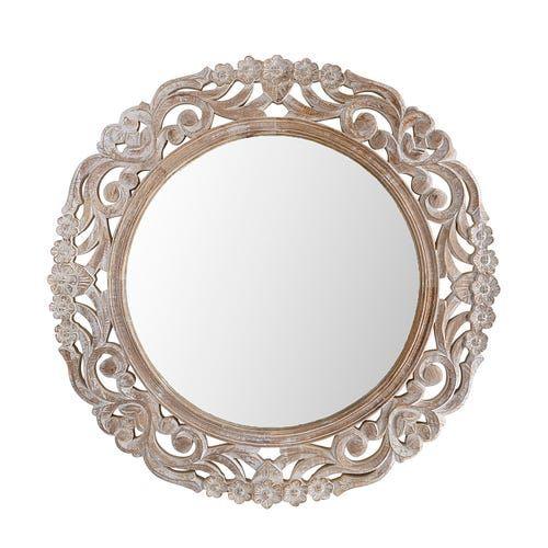 Carved Wood 35 Round Mirror, Carved Wood 35 Round Mirror