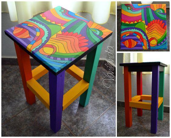 Banquito de madera pintado 50cm de altura mobiliario - Mesa dibujo ikea ...