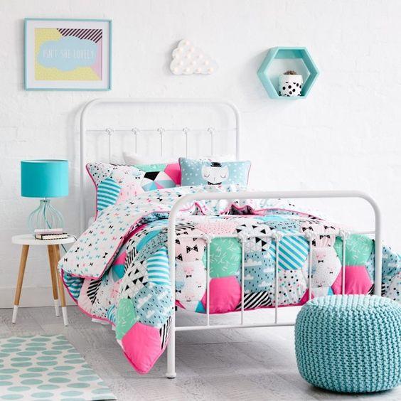 Mobilier chambre fille id es novatrices qui vous inspireront design inter - Chambre blanche et turquoise ...